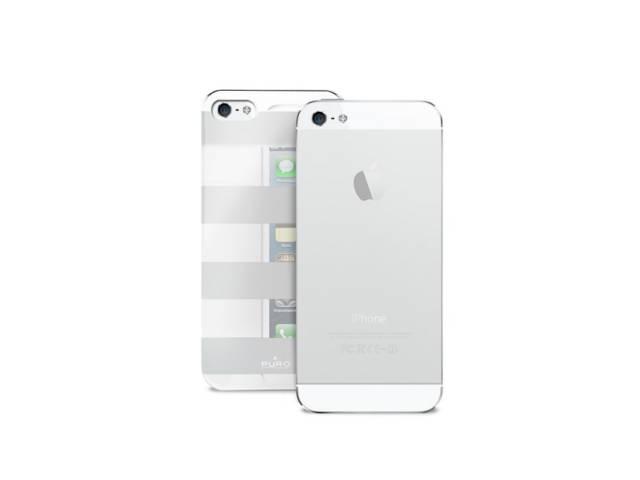 coque puro stripe argent et blanc pour iphone 5 5s. Black Bedroom Furniture Sets. Home Design Ideas