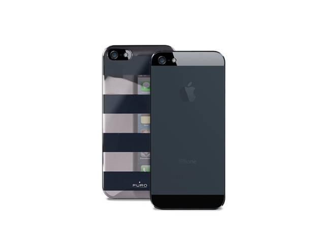 coque puro stripe gris et noir pour iphone 5 5s. Black Bedroom Furniture Sets. Home Design Ideas