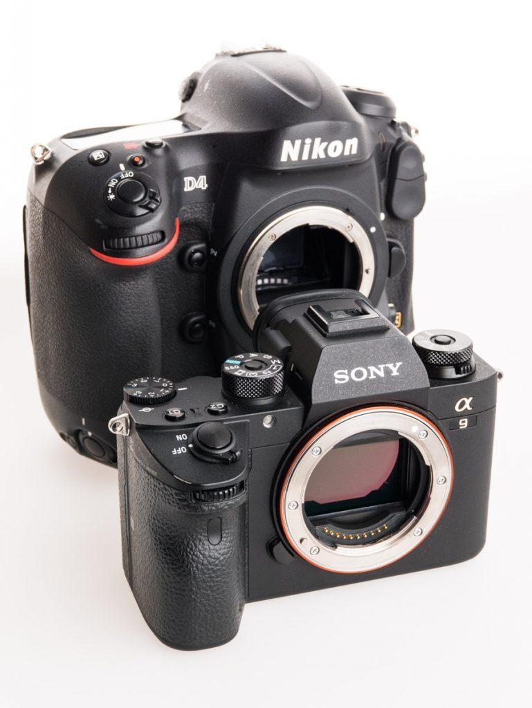 Comparatif visuel d'un réflex Nikon D4 et Sony a9