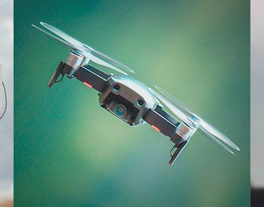 Triptyque présentant un opérateur drone avec radiocommande, un DJI Mavic Air volant et la nacelle/caméra d'un drone DJI Phantom 4