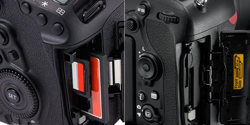 Logements de cartes des reflex plein format Canon EOS 5D Mk IV et du Nikon D850
