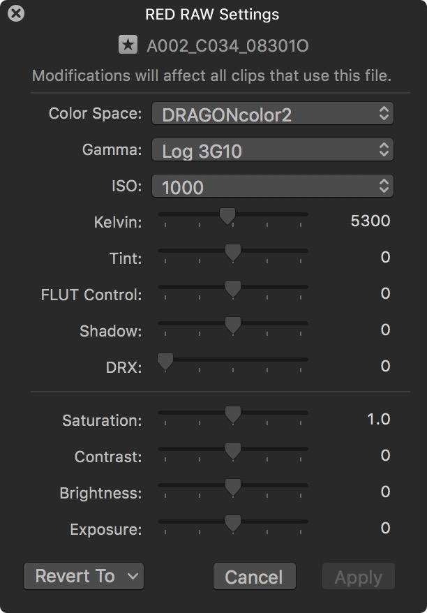 Plugin RED dans logiciel Final Cut Pro X.