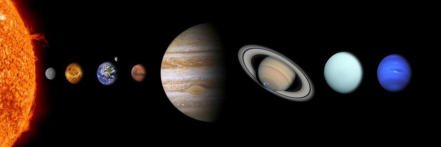 Représentation à plat du système solaire