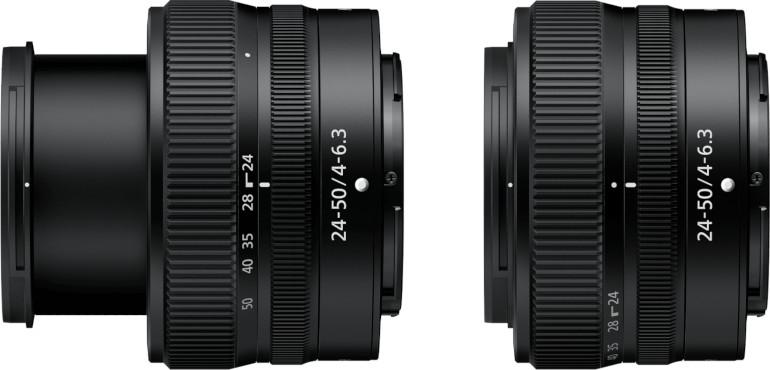Nikon 24-50 mm étendu et rétracté