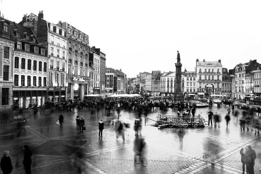 Photographie de la ville de Lille en noir et blanc par Frederic Wilocq