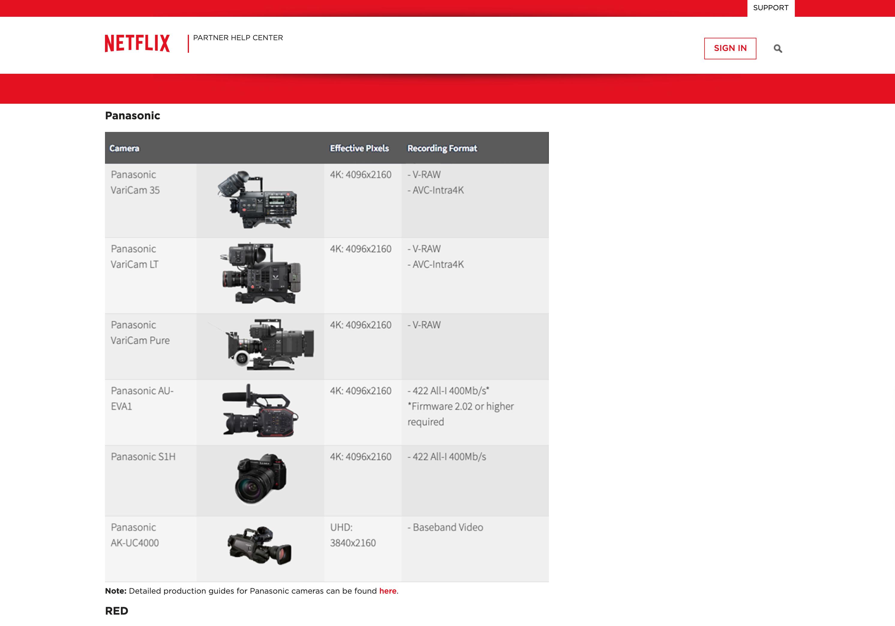 Lumix S1H Netflix : caméras Panasonic.