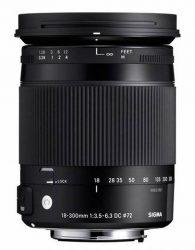 Objectif photo Sigma 18-300 mm f/3,5-6,3 macro contemporary (10,2 cm - 550g)