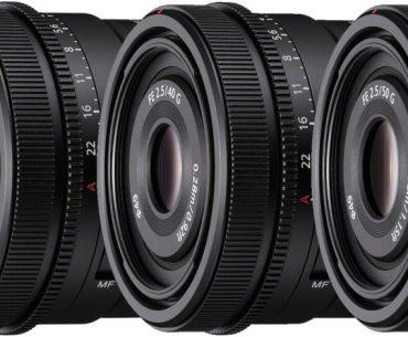 Sony FE 24mm F2.8G, 40mm F2.5G, 50mm F2.5G