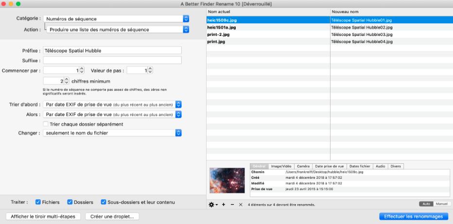 Logiciel A Better Finder Rename : interface