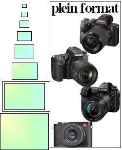 Les capteurs plein format 35 mm (24 × 36 mm) sont omniprésents sur les appareils haut de gamme à objectifs interchangeables.