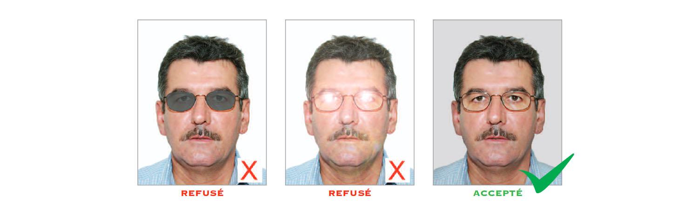 Norme photo d'identité : lunettes
