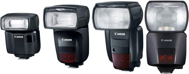 Flashs Canon EL-100, 430 EX-AI, 600EX II-RT et EL-1
