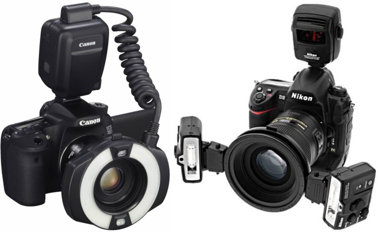 Flashs macro Canon MR-14EX II et Nikon R1C1