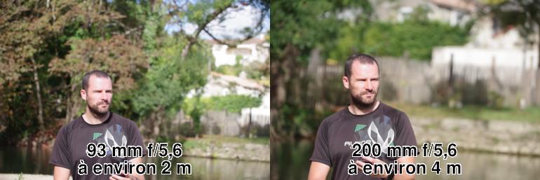 Comparaison des arrière-plans à 90 et 200 mm de focale