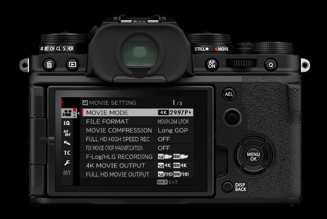Fujifilm X-T4 : menus vidéo.