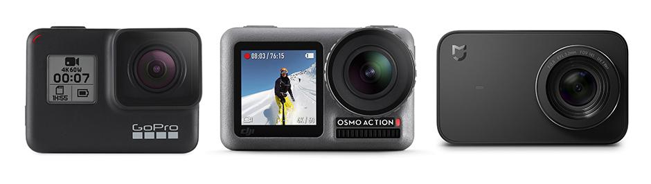 trois action cam : GoPro Hero 7 Black, DJI Osmo Action, Xiaomi Mi 4K Action