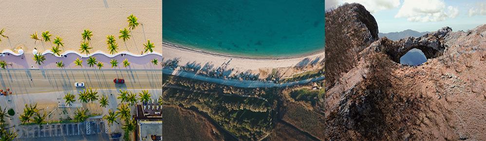 Bannière présentant 3 photos aériennes présentant une longue avenue bordée d'une plage, un bord de mer et un paysage désertique