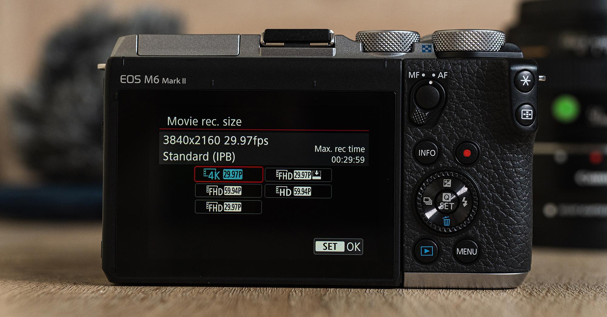 Codecs vidéo : Canon EOS M6 Mark II.