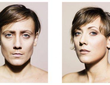 Double portrait d'un modèle réalisé par Massimo Giovannini, à gauche le modèle ressemble à un homme, à droite à une femme