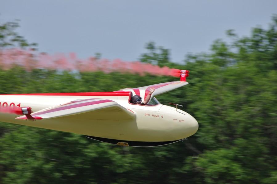 Planeur DFS Habicht à l'atterrissage au meeting de la Ferté-Alais