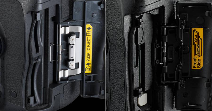 Ports de cartes mémoire des D750 et D850