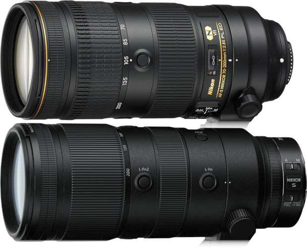 Nikon 70-200 mm f/2,8 en monture F et en monture Z