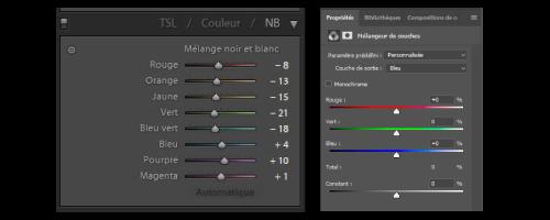 Illustration de l'outil mélangeur de couches sur Lightroom (gauche) et Photoshop (droite)