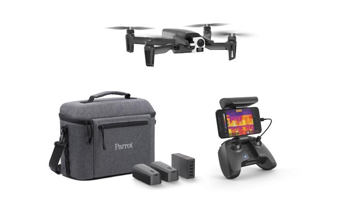 Visuel présentant le pack drone Parrot Anafi Thermal, ultra complet avec le drone, un sac de transport, des batteries et 1 radiocommande