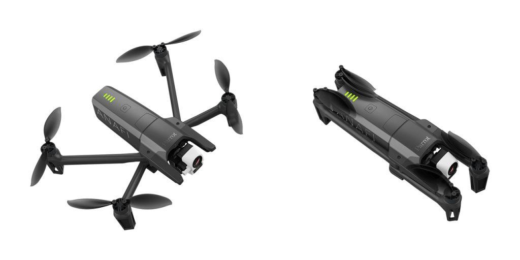 Visuel présentant le drone Parrot Anafi Thermal, vu déplié et replié pour montrer sa compacité