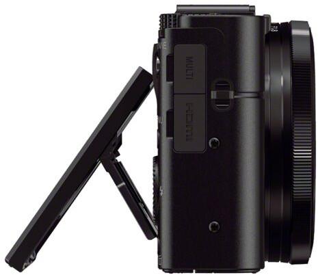 Sony RX100 II de profil, écran sorti