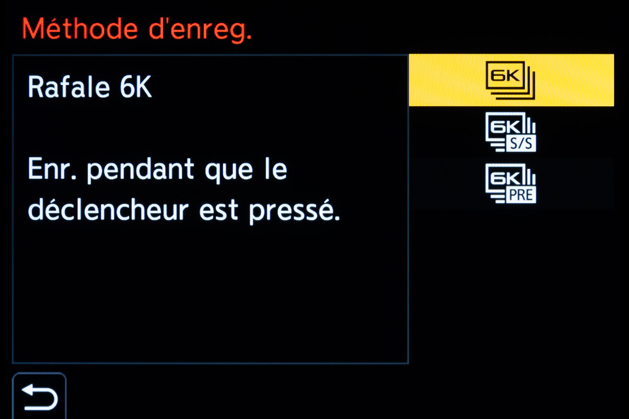 Mode 4K/6K Photo Panasonic : menu réglage fonction