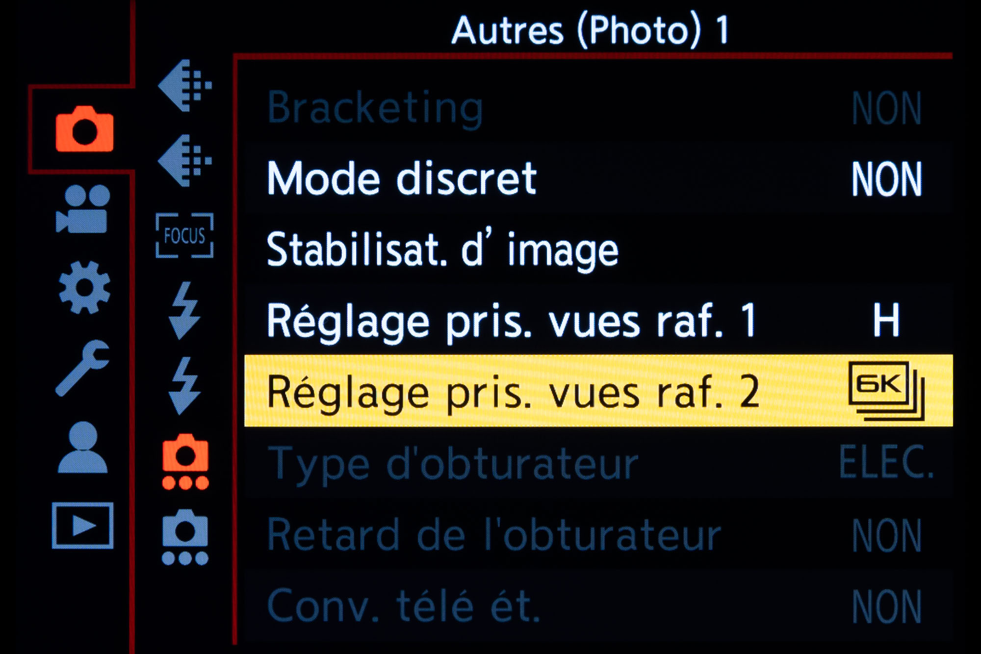 Mode 4K/6K Photo Panasonic : menu rafale