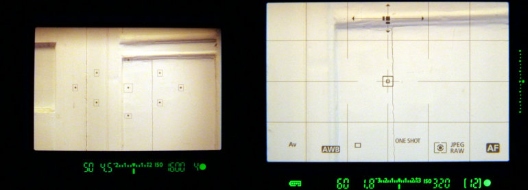 Comparaison entre viseurs des EOS 1200D et 7D Mk II