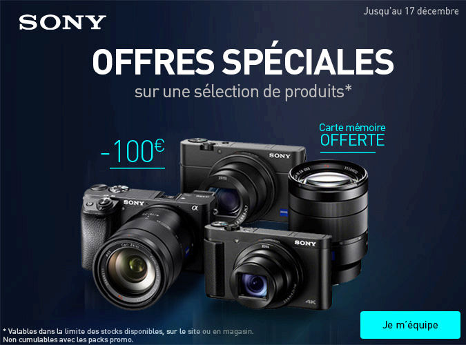 Offres spéciales Sony : hybrides, compacts, objectifs