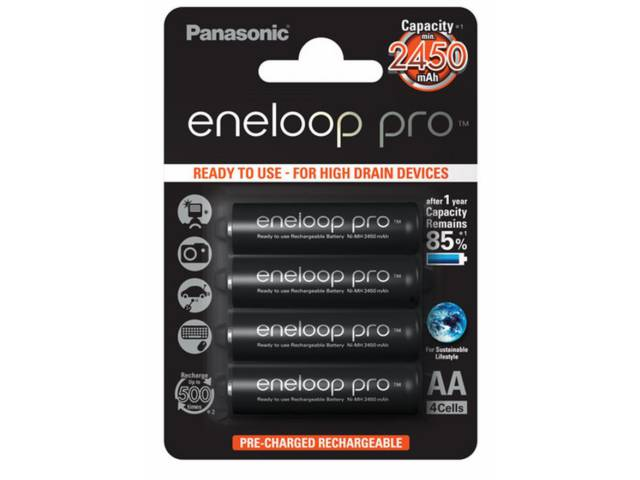 piles rechargeables panasonic eneloop pro lr6 aa 2450 mah. Black Bedroom Furniture Sets. Home Design Ideas