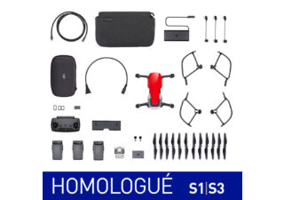 DJI Mavic Air rouge flamme Fly More Combo homologué S1 & S3